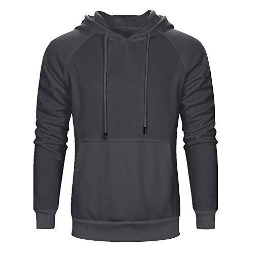 Herren Sweatshirt Kapuzenpullover Sweatjacke Pullover Hoodie Sweat Hoody Sweatshirt Herren Dünner Sweatshirt Langarm mit T-Shirt Hemden Tops Hoodie Dark Gray S