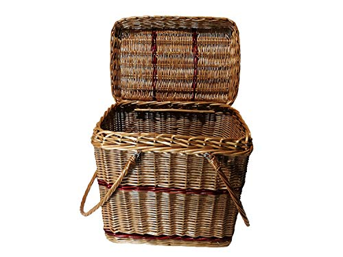 Lovinbirds  Picknickkorb mit Deckel und bewegliche Henkel Weide Weidenkorb