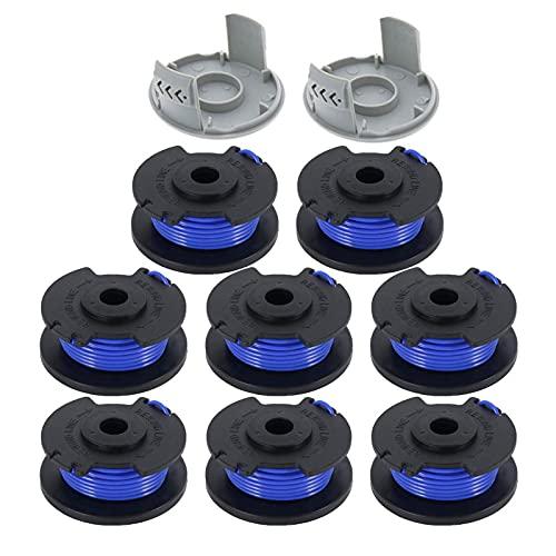 Rasentrimmer-Ersatzspulen, 1.65mm Autofeed-Ersatzspulen für Ryobi One+ AC14RL3A 18 V, 24 V, 40 V, für Black und Decker schnurlosen Rasentrimmer Unkrautfresser Spulen Schnur (8 Spulen + 2 Kappen)