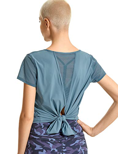 CRZ YOGA Women's Breezy Feeling Workout Shirts Loose Fit Short Sleeve Tee Mesh Tie Back Athletic Gym Clothes Slate Blue Large