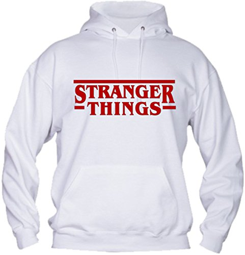 Felpa con Cappuccio Bambino Ragazzo Basic Top qualità Top vestibilità - Stranger Things novità Fashion Divertenti Humor Youtuber New Bambina Made in Italy (12-14 Anni, Bianca)