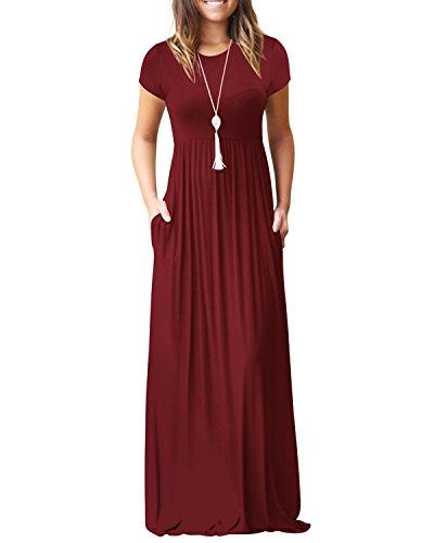 Kidsform Damska sukienka z krótkim rękawem, luźna, długa sukienka z kieszeniami