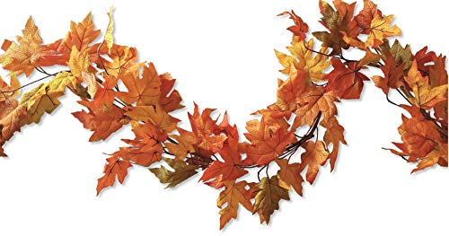 CraftMore Artificial Maple Fall Leaf Garland 6 Feet for Autumn and Thanksgiving Decor