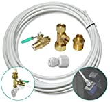 Metpure Ice Maker Fridge Installation Kit – 25' Feet Tubing for Appliance Water Line with Stop Tee Connection and Valve for Quick Installation, 1/4' Fittings for Potable Drinking Water