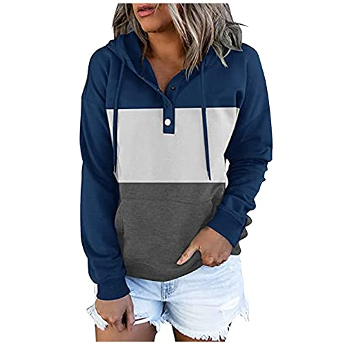 Womens Fall Hoodie Pullover Button Down Drawstring Long Sleeve Tunic Sweatshirts Tops with Pockets Coats