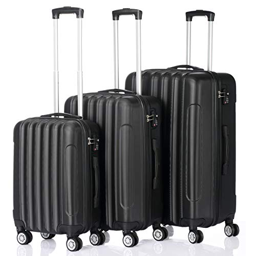 Suitcase Suitcase-3 Piece Sets (20 inches, 24 inches, 28 inches), Black