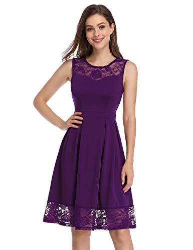 KOJOOIN Damen Elegant Spitzenkleid Cocktailkleid Brautjungfernkleider für Hochzeit Abendkleider Ärmellos Grape L