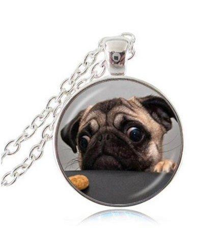 Mops-Halskette, Hundehals-Anhänger, Tierschmuck, Bulldog-Halskette mit kunstvollem Glas-Cabochon, Hundekette aus Silber mit Anhänger