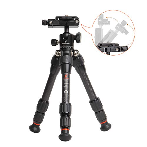 Besnfoto Carbon Fiber Mini Tripod Desktop Compact Lightweight Tripod for DSLR Camera and Phone with 360 Degree Ball Head Built-in Phone Mount Portable for Traveling Load up to 11Pounds/5 Kilograms