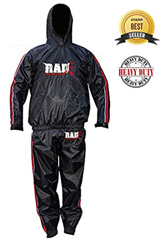 RAD Sauna Suit Men Women Weight Loss Jacket Pant Gym Workout Sweat Suits with Hood Red 4XL