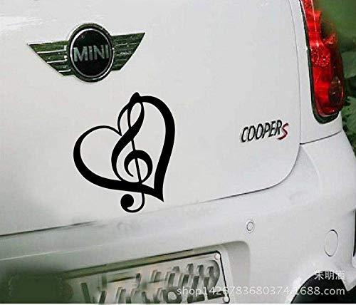Pegatinas de coche Kyman para coche, pegatinas de coche, música y letreros de música, pegatinas para coche, notas de amor, diario, símbolos de música -1 - negro
