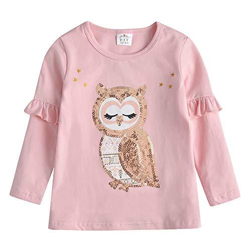 VIKITA T-Shirt Bambina Floreale Ricamo Manica Lunga Cotone L5762H 8T