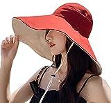 Womens Sun Hat Wide Brim UPF 50+ Summer Hat Foldable Floppy Beach Cap for Women (Reversible-Red)