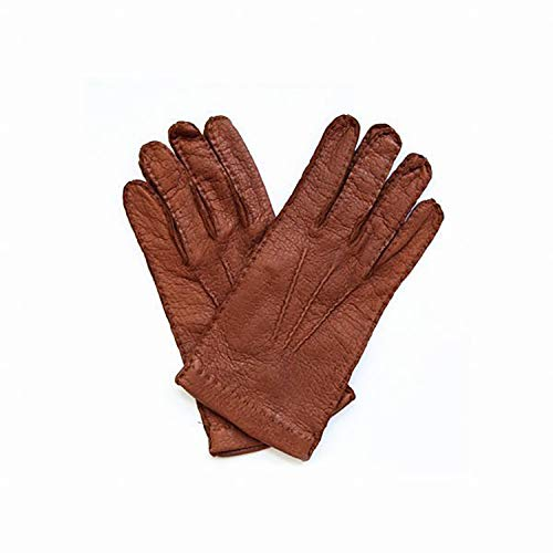Handschuhe Vollleder Leder Peccary Peccari Pecari Herren Cashmere Kaschmir Gefütterte Futter Feine Italienische Italien Made Italy Leder Oldtimer Stronghand Stulpen Fahrer Faust Kurze Braun (7.5)