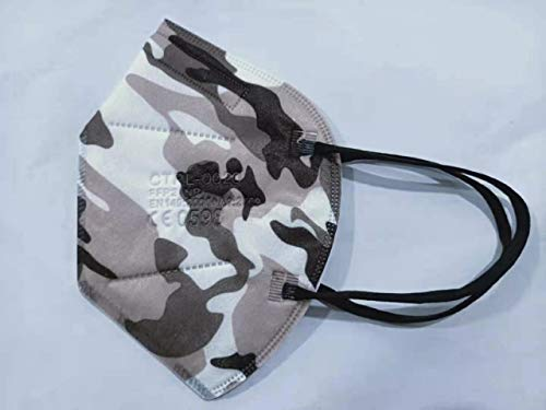 Media Sanex 25 Stück Atemschutzmaske FFP2 Mundschutz Maske perfekt für Mund- und Nasenschutz Schutzmaske Atemschutzmaske 5-lagig CE Zertifiziert einzeln verpackt verschiedene Farben (Camouflage)