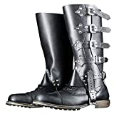 Wraith of East Faux Leather Medieval Gaiters Viking Knight Warrior Armor Boot Covers Spats Waterproof Leg Guards LARP Ranaissance Costume Accessories (303-Black)