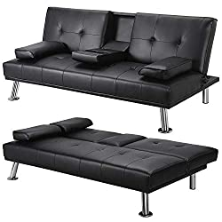 Durable: The sofa bed is made of high-quality faux leather, and the sofa feet are made from sparkling steel polished chrome. Its frame is made of solid metal offering great stability, durability and stain resistant properties. Foldable design: The 3 ...