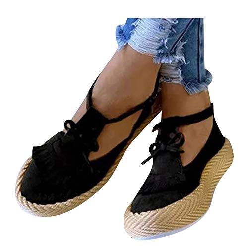 Aniywn Summer Casual Beach Shoes Platform Ankle Buckle Strap Shoes Round Toe Solid Color Tassel Flat Pumps Dress Shoes Black