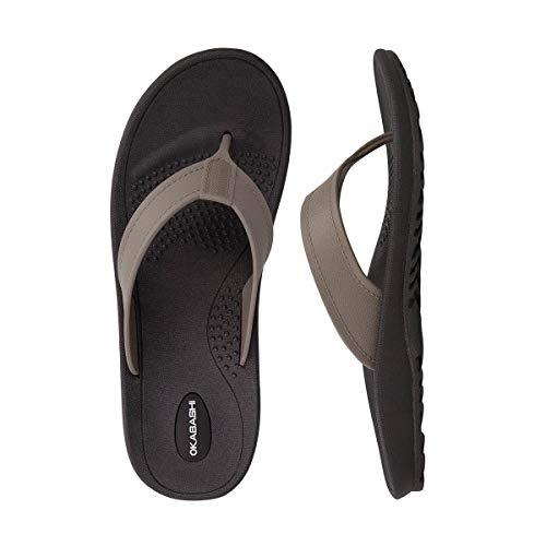 Okabashi Men's Mariner Flip Flop Sandals (Large, Black/Fawn)