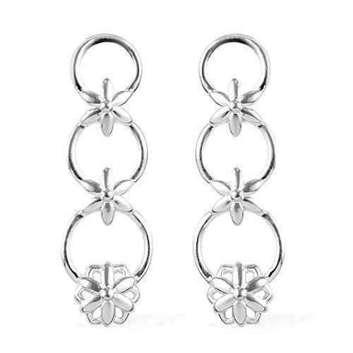 TJC Floral Drop Dangle Earrings for Women 925 Sterling Silver