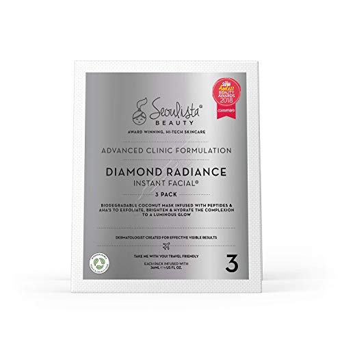 Seoulista Beauty Advanced Clinic Formulation Diamond Radiance Instant Facial, Anti-Ageing Treatment With Peptides, Vitamin C, Niacinamide - Dermatologist Created Korean Skin Care - Award Winning