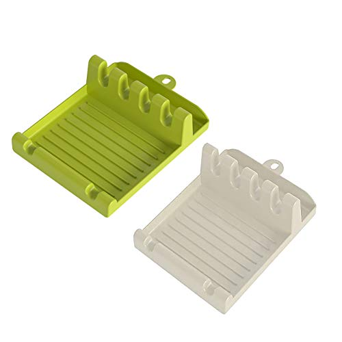 Creazeal Kitchen Utensil Rest for Stove Top 2 PCS Spoon Rest with Hanging Design 42 Slots Accommodate Multiple Spatula Ladle Spoon Rest with Drip Pad Pot Lid Holder Cooking Mat White Green