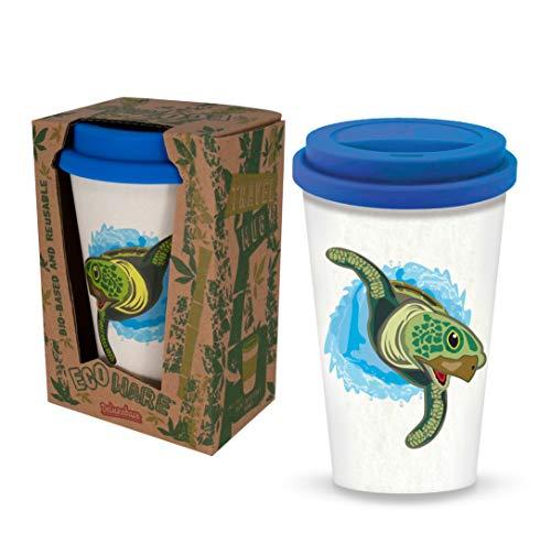 Taza reutilizable del viaje del café de la tortuga de mar de Ecoware de Deluxebase. Hecho con los materiales de bambú y bio-basados.