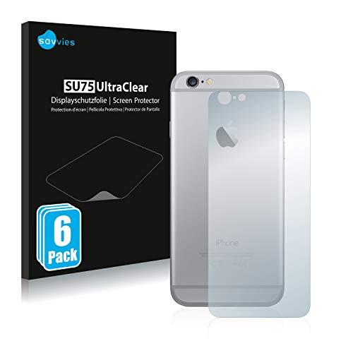 Savvies 6X Schutzfolie kompatibel mit Apple iPhone 6 Rückseite (gesamte Fläche) Displayschutz-Folie Ultra-transparent