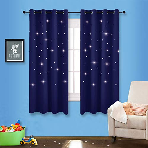 NICETOWN Romantic Starry Sky Curtains - Space Inspired Night Sky Twinkle Star Kid's Room Draperies, Creative Blackout Window Drapes for Teenagers Bedroom (Set of 2, 52 x 63 inches, Navy Blue)