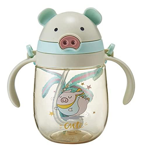 Toyvian Baby Sippy Tasse Stroh Trinken Flasche Nette Schwein Doppel Griff Keine Spill Sicher Lernenden Flasche Übergang Trinkbecher für Kleinkind Kleinkinder Baby Grün