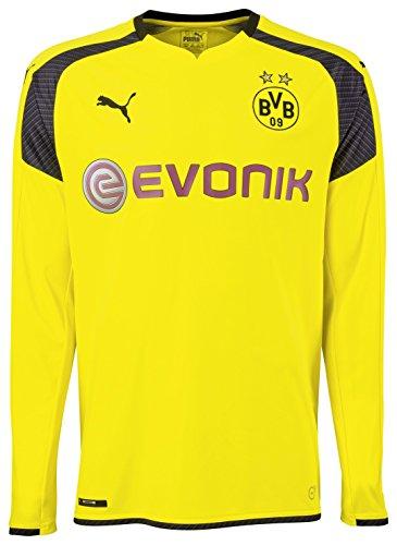 PUMA Herren Trikot BVB Long Sleeve international Replica Shirt with Sponsor Logo, Cyber Yellow-Black, M