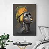 BGFDV Cuadro en Lienzo Mujer con Cartel Turbante e Impresiones Retrato Arte Imagen en la Pared Sala de Estar decoración del hogar