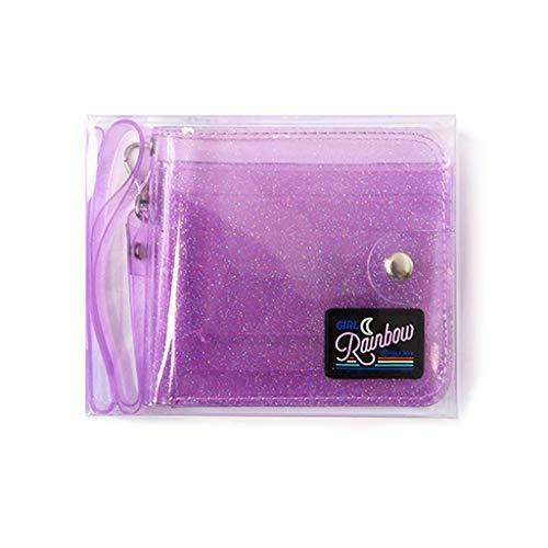 smallJUN Portatarjetas de identificación Transparente PVC Cartera Corta Plegable Moda Mujer Chica Brillo Tarjetas de Visita Estuche Monedero con cordón Cartera con Cuerda Púrpura