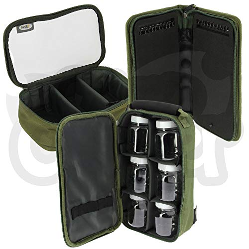 NGT Luggage Tackle Set With 4pc Glug Bag Stiff Rig Wallet & Pins + Lead Bag Carp Coarse Fishing