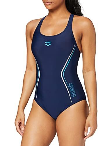 arena Straight Line Maillot de Bain Sport Femme, Bleu (Navy-Turquoise-White), 44 FR