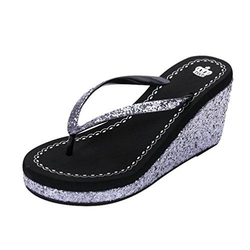 LINNUO Chanclas Cuñas Mujer con Lentejuelas Casual Sandalias de Playa Verano Flip Flops Plataformas Pantuflas Tacon