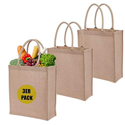 LONGBLE 3er Pack Jutetasche Große Jute Shopper 12L Taschen aus echter Jute 35x31x12 cm Einkaufstaschen Gastgeschenke-Tasche Sackleinen Werbetasche wiederverwendbar