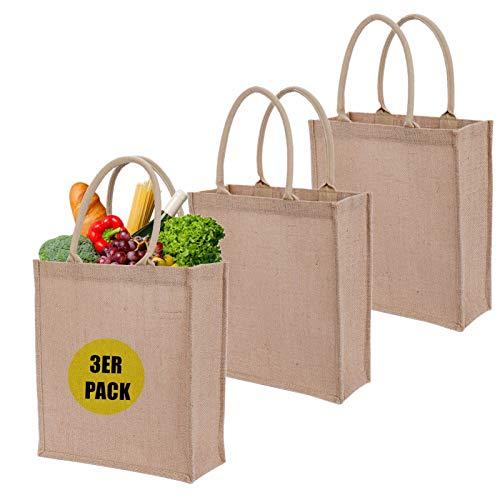 LONGBLE Juego de 3 bolsas de yute para regalo, 35 x 31 x 12 cm, tamaño grande, bolsas de la compra, bodas, regalos de invitados, bolsas de tela de arpillera, bolsas promocionales, reutilizables