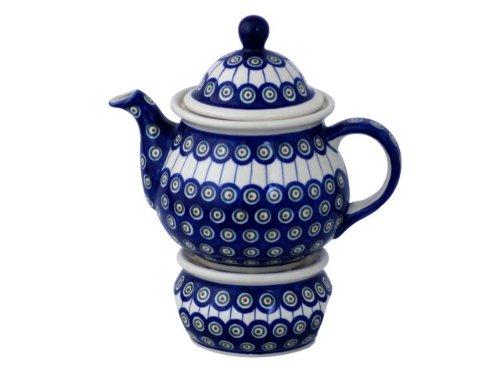 Original Bunzlauer Keramik Teekanne mit Stövchen 1.7 Liter im Dekor 8