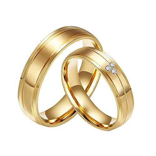 LONG-D Plated Couple Wedding Rings Stainless Steel Jewelry Finger Ring,A1,13=23mm