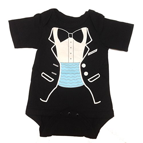 Lexikind Baby Strampler Smoking für Jungen - Anzug mit Fliege (100, kurz)