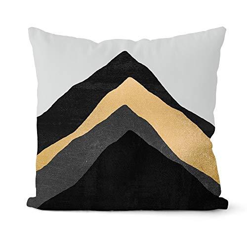 PPMP Funda de Almohada geométrica Gris y Negra, Almohada Decorativa para el sofá del hogar, decoración, Funda de Almohada, Funda de cojín A11, 45x45cm, 1pc