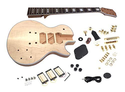 Solo LP Style DIY Guitar Kit, 3 Pickups, Maple Top, Binding