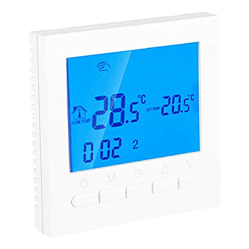 Digitale thermostaat, programmeerbare radiatorthermostaat, draadloos, wifi, wandthermostaat, kamerthermostaat met LCD-scherm, voor vloerverwarming, waterverwarming, wandverwarming, 86 x 86 x 43 mm