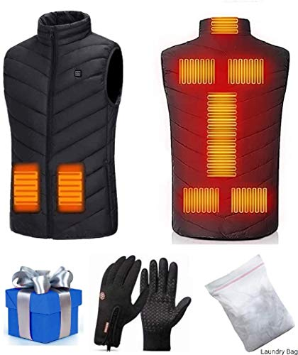 Decyam Gilet Riscaldato Gilet Uomo 3 Temperatura Regolabile 8 Zone Riscaldanti Impermeabile e Lavabile Gilet Riscaldato per Outdoor (Black, XL)