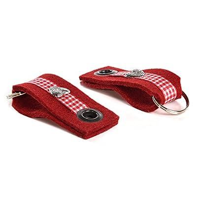 """Almwild Schlüsselanhänger UND Masskrugband. Schlüsselband """"Almwild Bandl"""" aus Natur- Filz in Rot mit Schlüsselring und Herz. Ideal für Hausschlüssel,Fahrzeugschlüssel & Geschenk"""