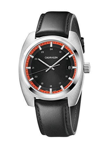 Calvin Klein Herren Analog Quarz Uhr mit Leder Armband K8W311C1