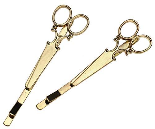 Create Idea Lot de 2 pinces à cheveux en forme de ciseaux pour femme Doré