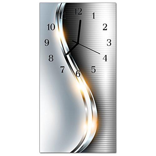DekoGlas Glasuhr 'Curven Silber' Uhr aus Echtglas, eckig große Motiv Wanduhr 30x60 cm, lautlos für Wohnzimmer & Küche