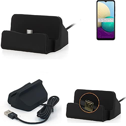 K-S-Trade Docking station compatibile con Samsung Galaxy M02 Docking Station Micro USB da tavolo caricatore docking station con cavo per la ricarica e la sincronizzazione, nero